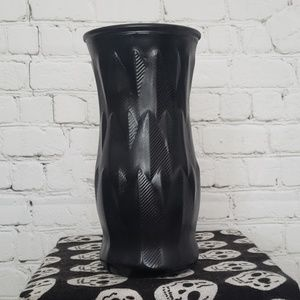 VINTAGE BRODY CO GLASS VASE BLACK feather p